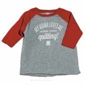 My Mama Loves Me More Than Quilting! Heather Gray with Red Sleeves Baseball T-Shirt - 5/6T
