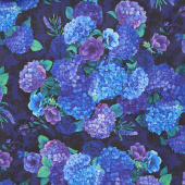 Misty - Hydrangea Bunches Plum Digitally Printed Yardage