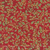 Winter's Grandeur 7 - Holiday Leaves Red Metallic Yardage