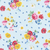 Afternoon Picnic - Floral Blue Yardage