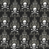Bewitching - Danger Damask Midnight Black Yardage