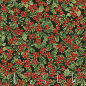 A Joyful Season - Holly Berries Holly Metallic Yardage