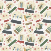 Designer Flannel - Let It Snow Main Cream Yardage