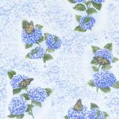 Hydrangea Blue - Hydrangea Fresco Blue Yardage