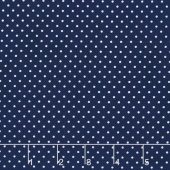 Swiss Dot - White Swiss Dot on Navy Yardage