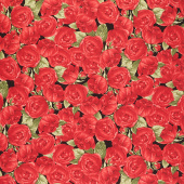 Garden Rose - Medium Red Roses Black Yardage