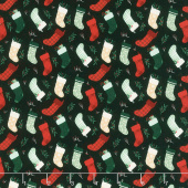 Christmas Traditions - Stockings Black Yardage