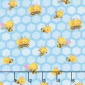Busy Bees - Small Honeycomb Bees Blue Yardage