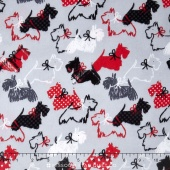 Scottie Love - Dottie Scottie Gray Flannel Yardage