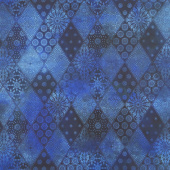 Seasons - Diamonds Blue Digitally Printed Yardage