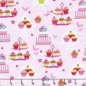 Cupcake Cafe - Cake Stands Pink Yardage