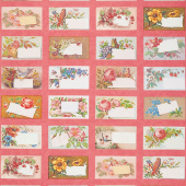 Flea Market Mix - Floral Trade Cards Rhubarb Yardage