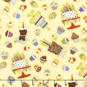 Let's Celebrate - Cakes & Cupcakes Yellow Yardage