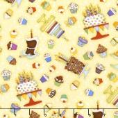 Let's Celebrate - Cakes & Cupcakes Yellow Yardage