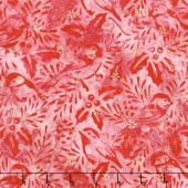 Artisan Batiks - Northwoods 6 Holly Berry Chickadees Cardinal Metallic Yardage