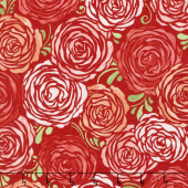 Sugar Berry - Candied Roses Radiant Berry with Red Glitter Yardage