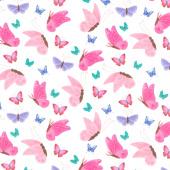 Uni the Unicorn - Butterflies White Yardage