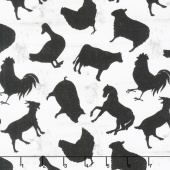 Homestead - Tossed Animals Cream Yardage