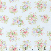 Morning in the Garden - Medium Floral Blue Yardage