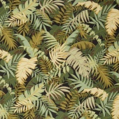 Collection for a Cause - Sunshine - Tropical Ferns Black Yardage