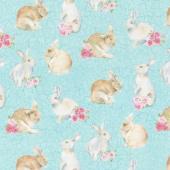 Bunny Love - Realistic Bunnies Turquoise Multi Yardage