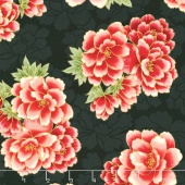 Imperial Collection 13 - Black Large Peonies Black Metallic Yardage