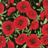 Tuscan Poppies - Tossed Poppies Black Yardage