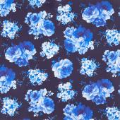 Bluebird - Medium Flowers Navy Yardage