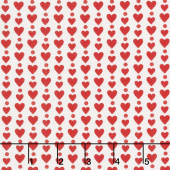 Red-iculously in Love - Hearts & Dots White Yardage
