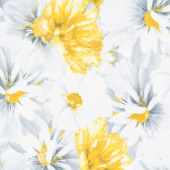 Limoncello - Blossoms Dove Gray Pearlized Yardage