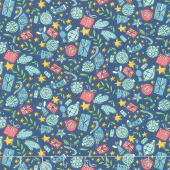 Festive Collection - Festive Joy Blue Yardage
