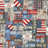 All American Road Trip - License Plates Navy Yardage