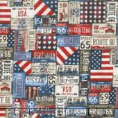 All American Road Trip - License Plates Navy Yardage