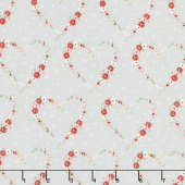 Vintage Keepsakes - Heart Gray Yardage