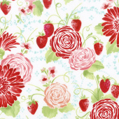 Sugar Berry - Picnic in the Park Radiant Berry with Red Glitter Yardage