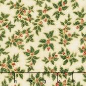 Holiday Flourish 10 - Holiday Small Holly Holiday Metallic Yardage