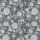 Sashiko - Floral Stitch Indigo Yardage