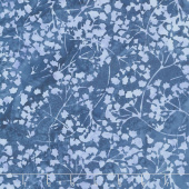 "108"" Wide Back Batik - Ferns Blue Backing"