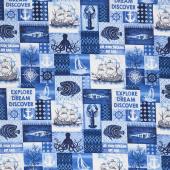 Indigo Coastal - Patchwork Indigo Blue Yardage