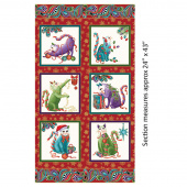 Cat-I-Tude Christmas - Paisley Red Multi Metallic Panel