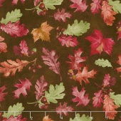 Colors of Fall - Tossed Leaves Brown Yardage