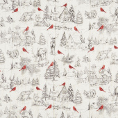Cardinal Woods - Toile Cream Multi Yardage