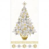 Stonehenge White Christmas - Tree White Gold Metallic Panel