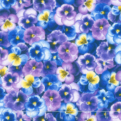 Pansy Paradise - Packed Pansies Purple Yardage
