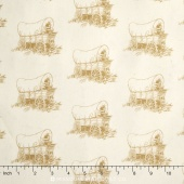 Little House on the Prairie - Scenic & Icons Wilder Wagon Natural Yardage