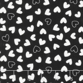 Delilah - Delilah Hearts Black Yardage