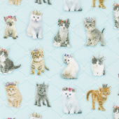 Kitty Glitter - Standing Kitties Light Aqua Digitally Printed Yardage