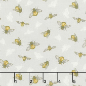 Tell the Bees - The Bumbles Grey Yardage