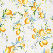 Lemon Fresh - Bouquet White Yardage