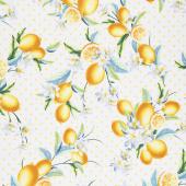 Lemon Fresh - Bouquet White Yardage